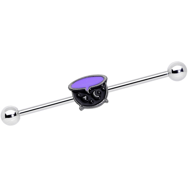 14 Gauge Black Purple Witch Cauldron Halloween Industrial Barbell 38mm