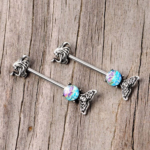 14 Gauge 5/8 Blue Mermaid Scale Tail Barbell Nipple Ring Set