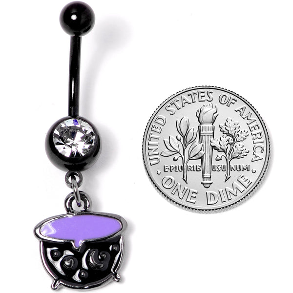 Clear Gem Black Purple Witch Cauldron Halloween Dangle Belly Ring