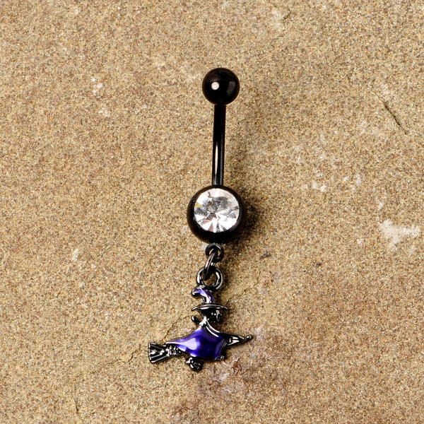 Clear Gem Black Purple Broom Witch Halloween Dangle Belly Ring