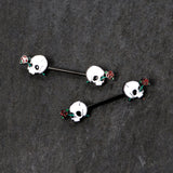 14 Gauge 9/16 Black PVD Rose Scary Skull Halloween Nipple Ring Set