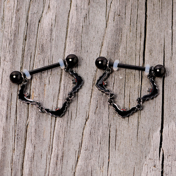 14 Gauge 9/16 Black Vampire Bat Halloween Dangle Nipple Ring Set