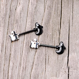 14 Gauge 9/16 Black PVD Black Ghost Halloween Nipple Ring Set