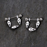 14 Gauge 9/16 Scary Screaming Ghost Halloween Dangle Nipple Ring Set