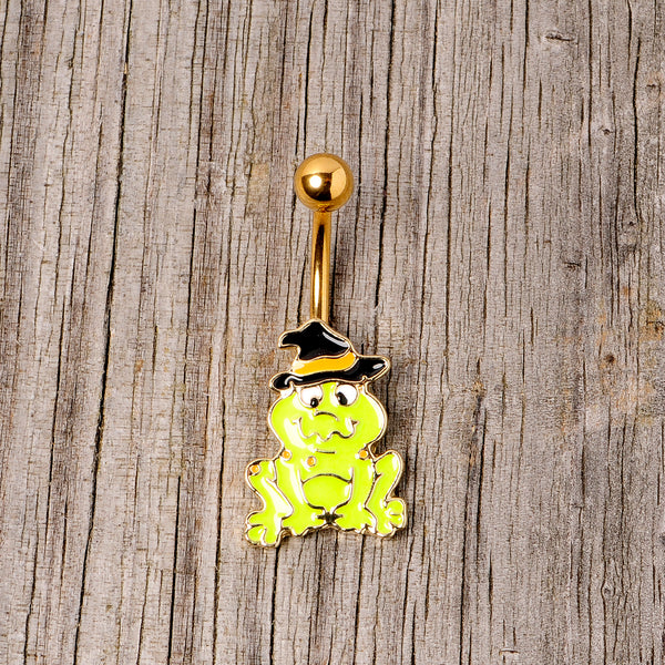 Gold Tone Ghastly Green Frog Witch Hat Halloween Belly Ring