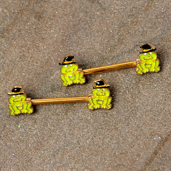 14 Gauge 9/16 Gold Tone Frog Witch Halloween Barbell Nipple Ring Set