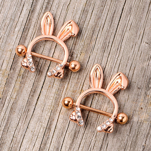 BUNNY EARS Nipple Ring Bar Stainless Steel Shield Jewellery Gold Silver NR28