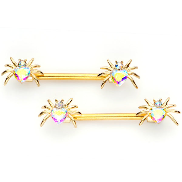 14 Gauge 9/16 Aurora Gem Gold Tone Heart Spider Barbell Nipple Ring Set