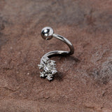 Clear CZ Gem Snowflake Christmas Spiral Twister Belly Ring