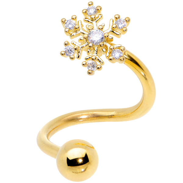 Clear CZ Gem Gold Tone Snowflake Christmas Spiral Twister Belly Ring