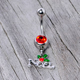 Red Gem Noel Winter Holiday Christmas Dangle Belly Ring