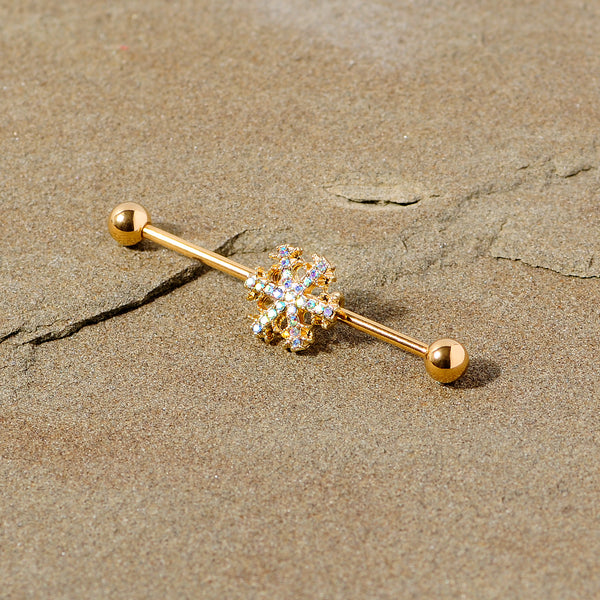 14 Gauge Aurora Gem Gold Tone Snowflake Industrial Barbell 38mm