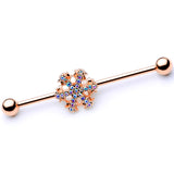 14 Gauge Aurora Gem Rose Gold Tone Snowflake Industrial Barbell 38mm