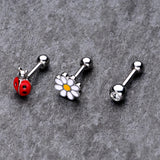 16 Gauge 1/4 Clear Gem Ladybug Cartilage Tragus Set of 3