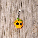 Black Gem Orange Pumpkin Jack O Lantern Halloween Belly Ring