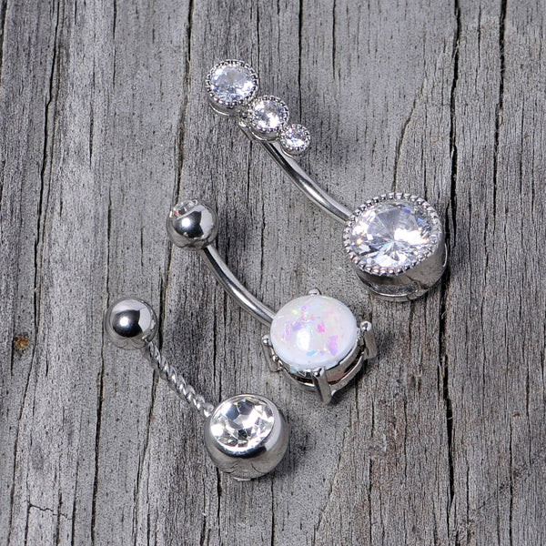 Details about  /Belly Ring Circle Swirl w//Red Gems Fancy Dangle Naval Steel Body Jewelry