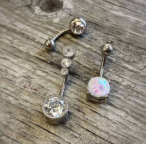 316L Surgical Steel Clear Gem Belly Ring With Jewelled Dazzling Butterfly Dangle