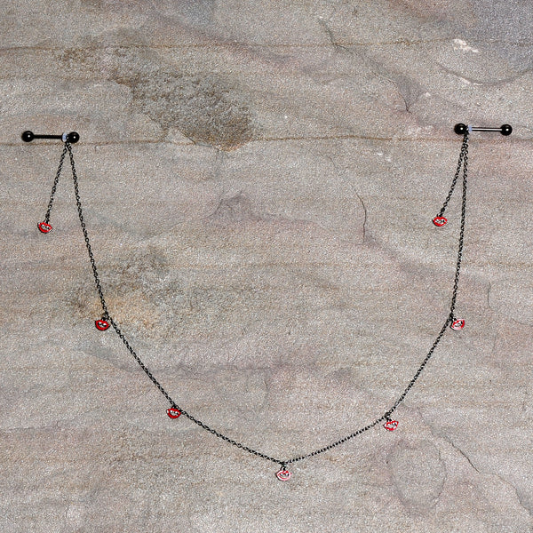 14 Gauge 5/8 Red Black Monster Fang Halloween Dangle Nipple Chain