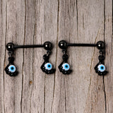 14 Gauge 5/8 Black Blue Eyeball Hand Halloween Dangle Nipple Ring Set