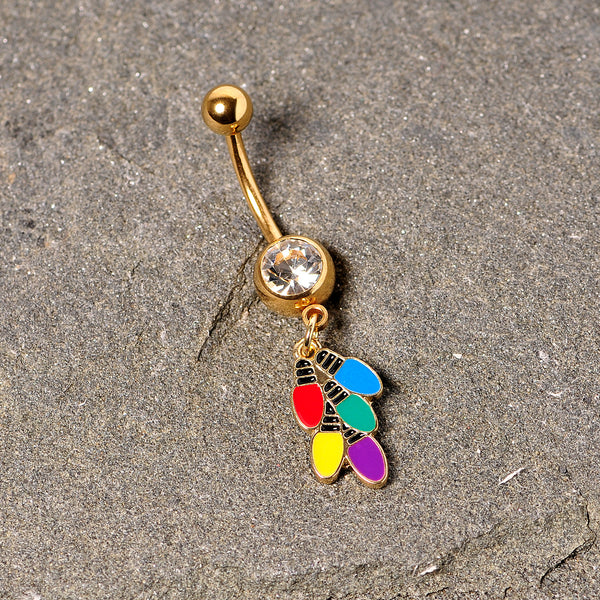 Clear Gem Gold Tone Christmas Lights Holiday Dangle Belly Ring