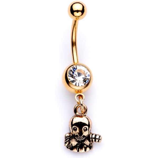 Clear Gem Gold Tone Happy Ghost Halloween Dangle Belly Ring