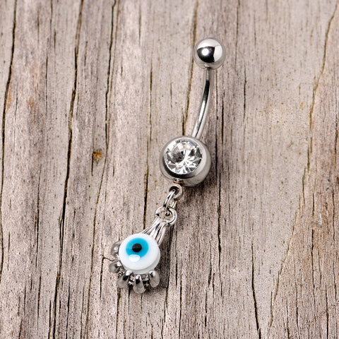 Clear Double Gem Brown Hardened Clay Pirate Skull Eye Patch Bear Dangle Belly Button Ring Navel Body Piercing Jewelry