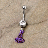 Clear Black Gem Purple Witch Hat Halloween Dangle Belly Ring