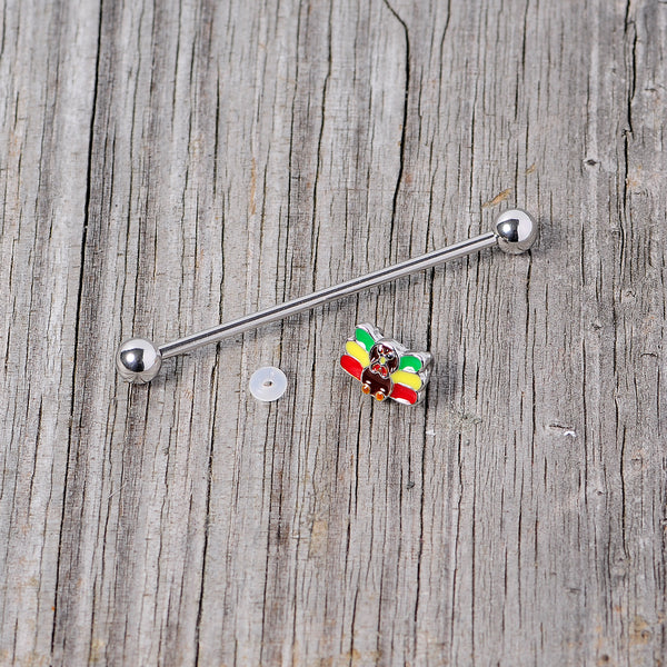 14 Gauge Rasta Turkey Thanksgiving Industrial Barbell 38mm