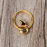 16 Gauge 3/8 Gold Tone Witch Hat Cat Halloween Hinged Segment Ring