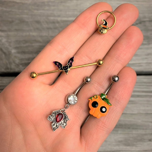 halloween pumpkin belly ring