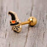 16 Gauge 1/4 Black Gold Tone Witch Hat Cat Halloween Cartilage Tragus