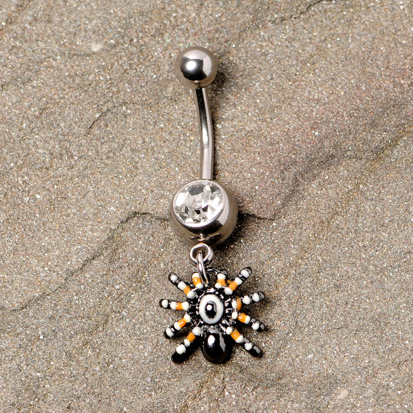 Clear Gem Tarantula Spider Halloween Dangle Belly Ring