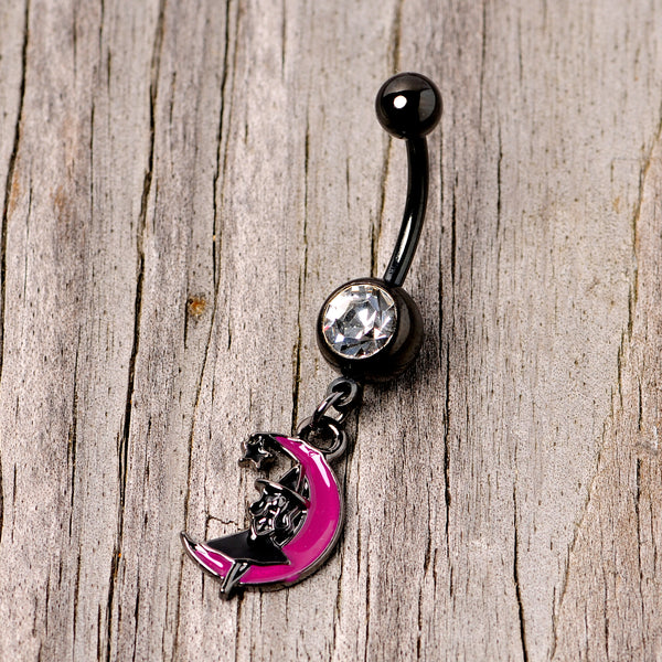 Pink Moon Black Witch Halloween Dangle Belly Ring
