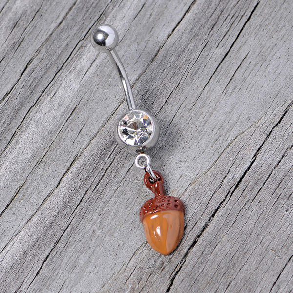 Clear Gem Brown Autumn Acorn Dangle Belly Ring