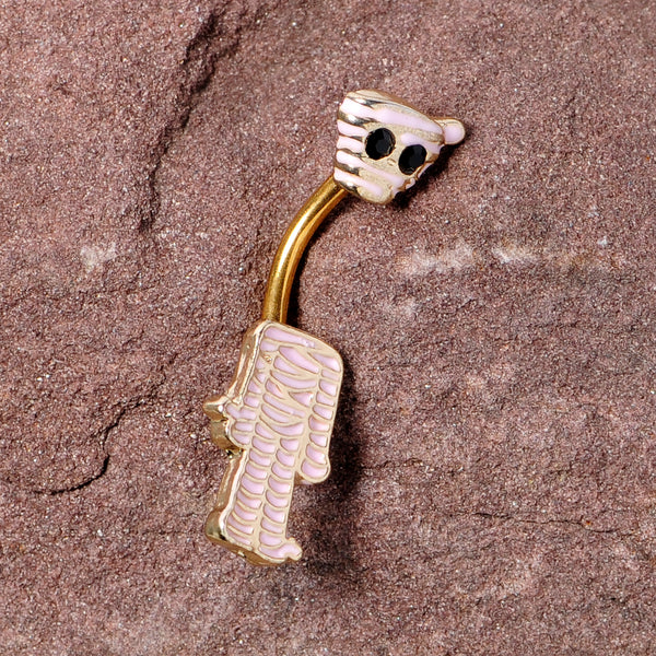 Black Gem Gold Tone Mummy Halloween Double Mount Belly Ring