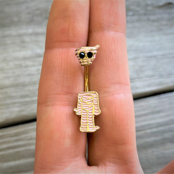 Halloween mummy belly ring