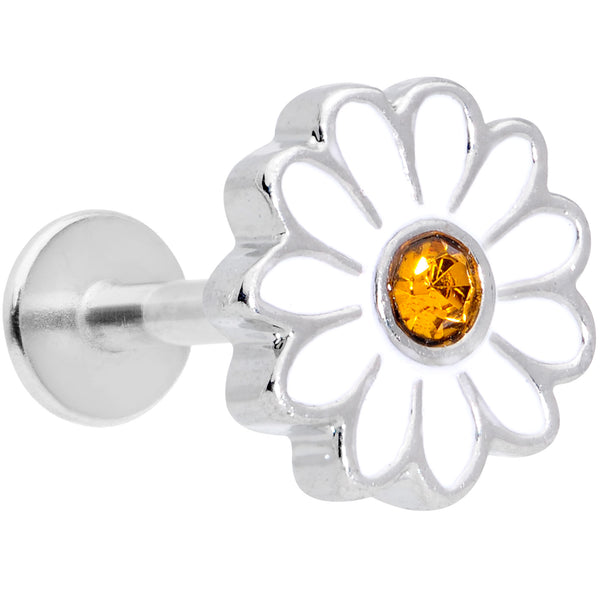 16 Gauge 5/16 Yellow Gem White Daisy Flower Labret Monroe Tragus