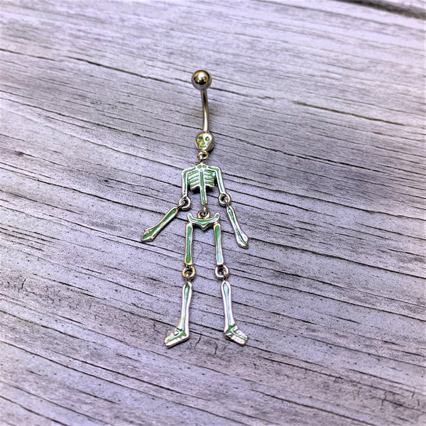 Green Hinged Halloween Skeleton Dangle Belly Ring