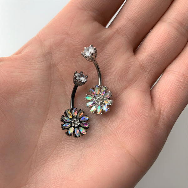Clear Aurora CZ Gem Flower Belly Ring