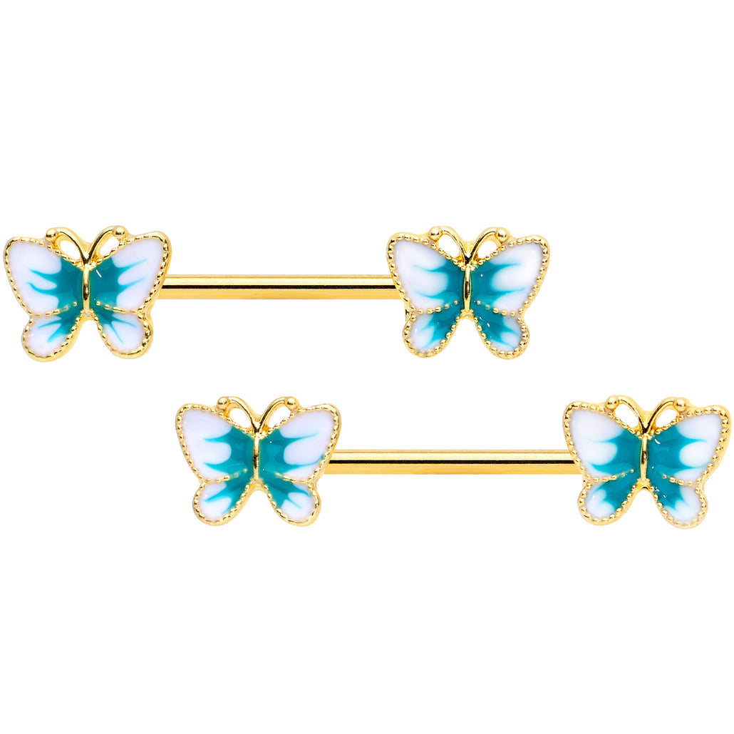 14 Gauge 9/16 Gold Tone White Green Butterfly Barbell Nipple Set