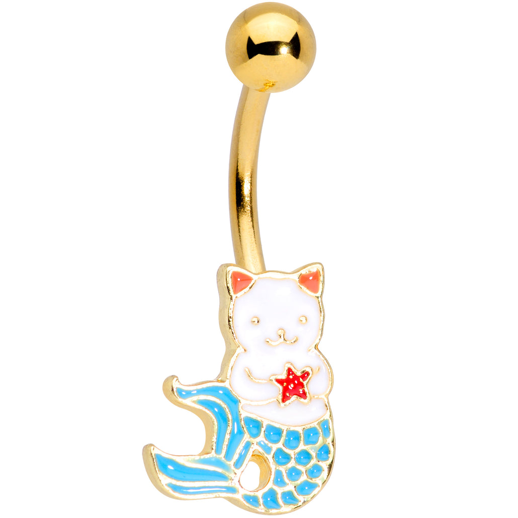 Gold Tone Blue Star Kitty Cat Mermaid Belly Ring