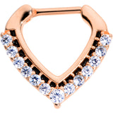 16 Gauge 5/16 Clear CZ Gem Rose Gold Tone Chevron Septum Clicker
