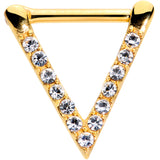 16 Gauge 5/16 Clear CZ Gem Gold Tone Sleek Triangle Septum Clicker