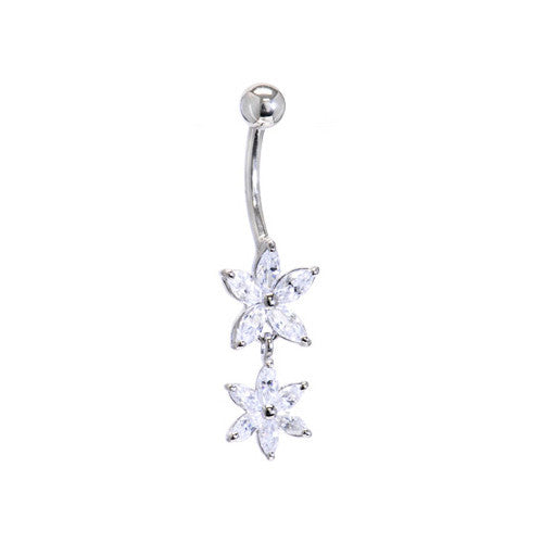 Solid 14KT White Gold Cubic Zirconia DUAL LILY Dangle Belly Ring