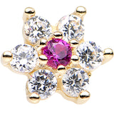 Solid 14KT Yellow GOLD Fuchsia AND Crystalline CZ FLOWER Nose Stud