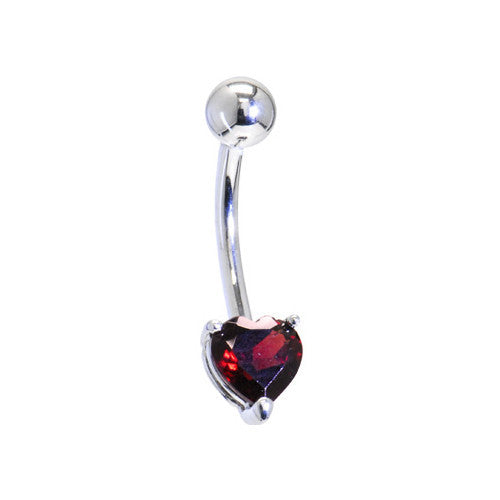 Solid 14KT White Gold GENUINE GARNET Heart Solitaire Belly Ring