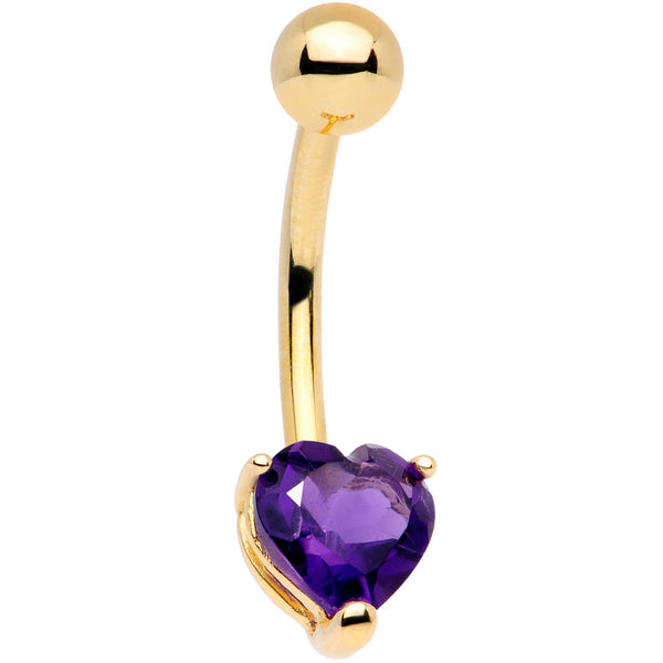 Solid 14KT Yellow Gold GENUINE Light AMETHYST Heart Solitaire Belly Ring