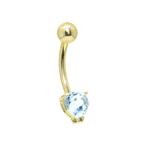 Solid 14KT Yellow Gold GENUINE Blue TOPAZ Heart Solitaire Belly Ring