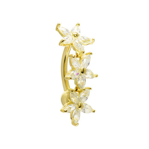 Solid 14KT Yellow Gold TOP MOUNT Cubic Zirconia LILY DROP Belly Ring