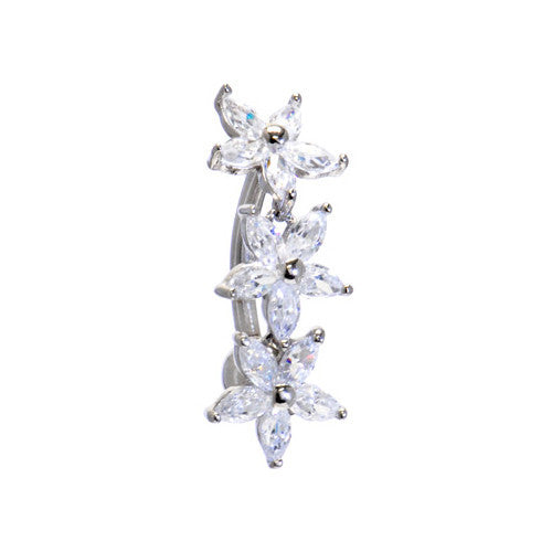 Solid 14KT White Gold TOP MOUNT Cubic Zirconia LILY DROP Belly Ring